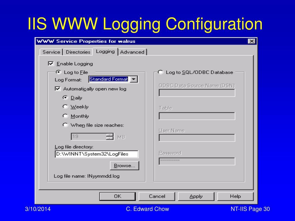 IIS WWW Logging Configuration