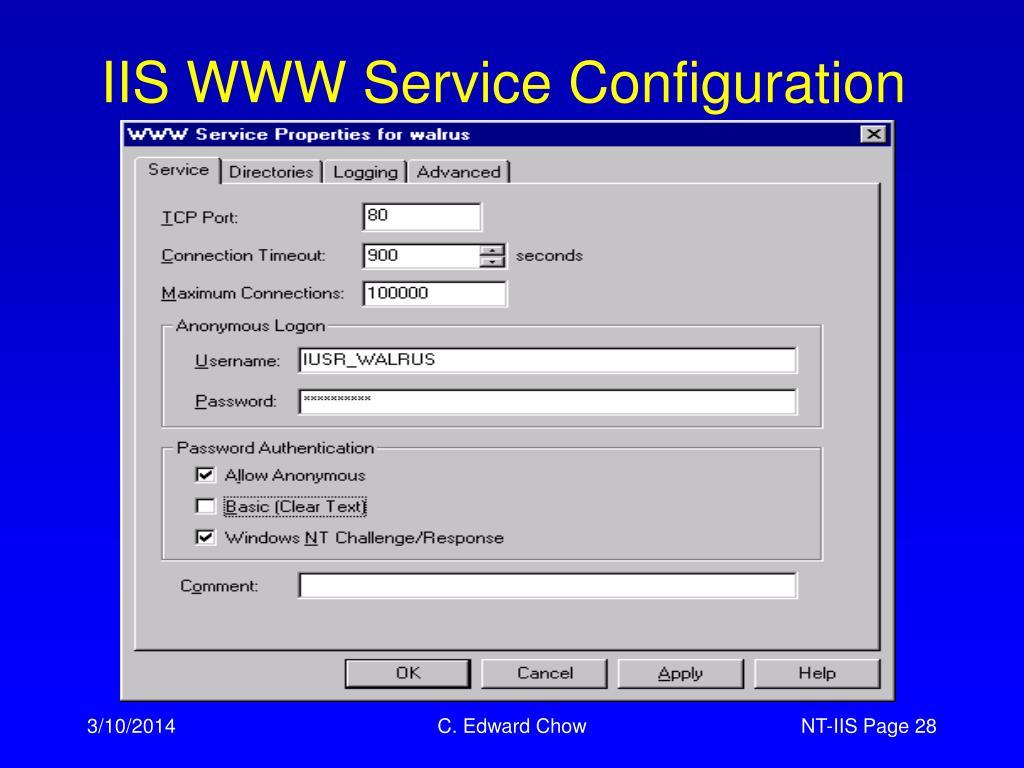 IIS WWW Service Configuration