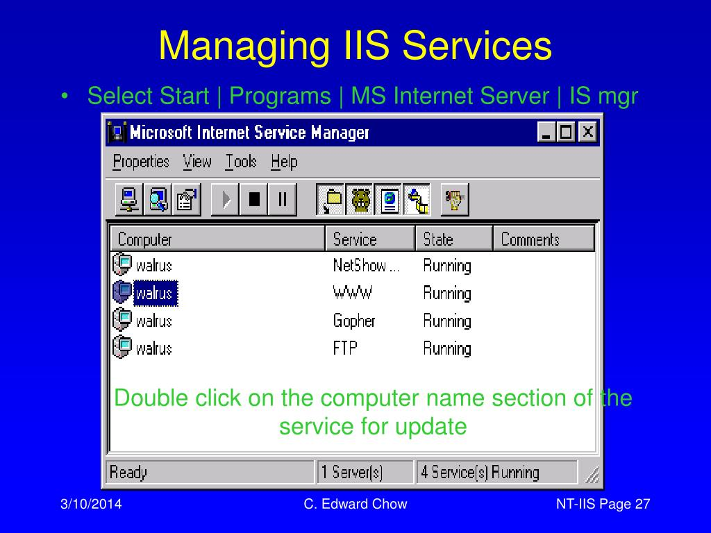 Managing IIS Services