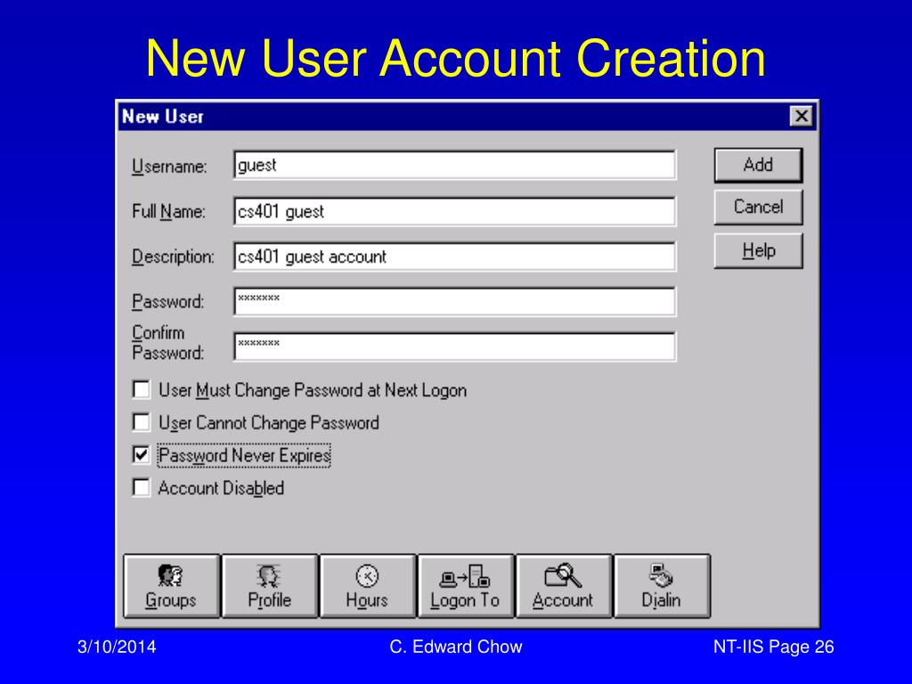 New User Account Creation