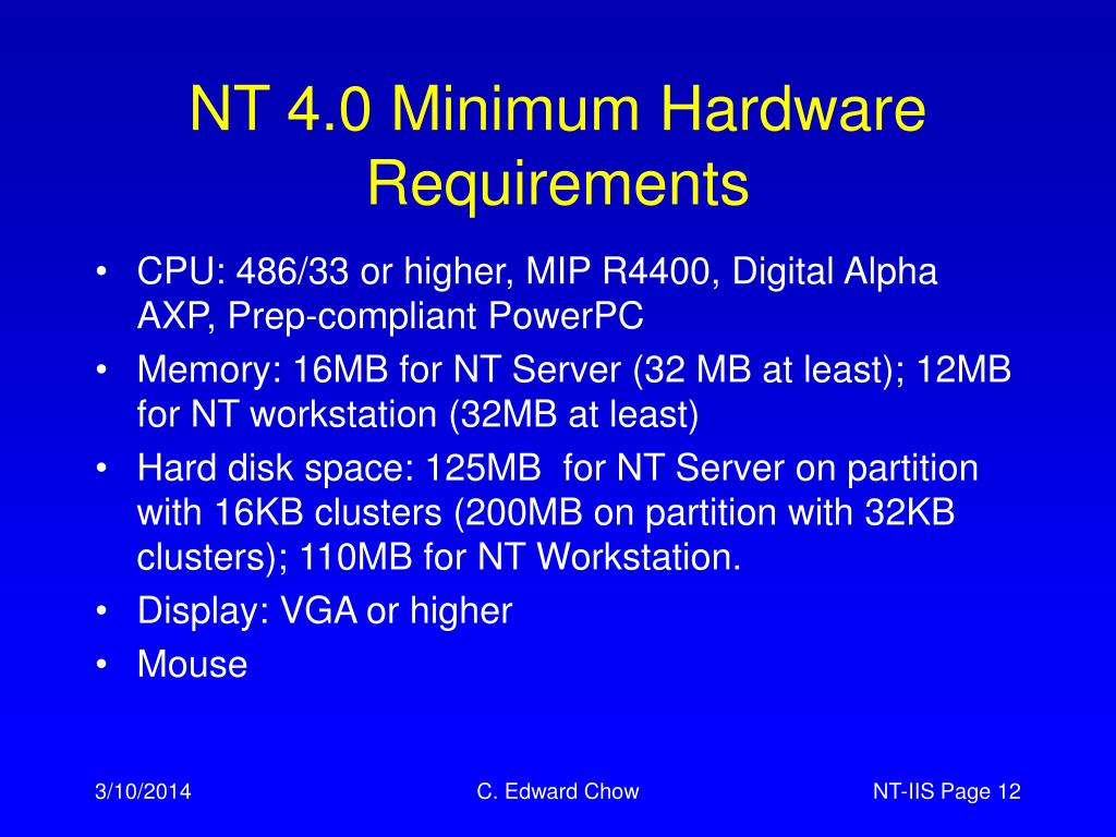 NT 4.0 Minimum Hardware Requirements