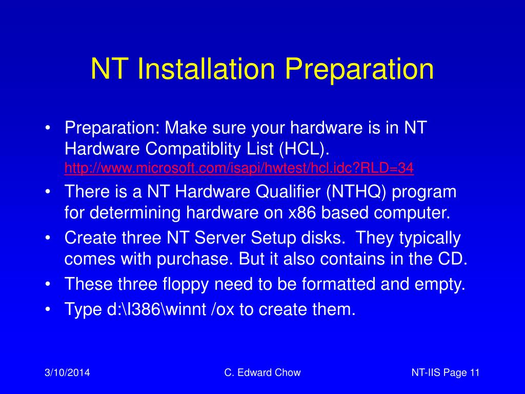 NT Installation Preparation