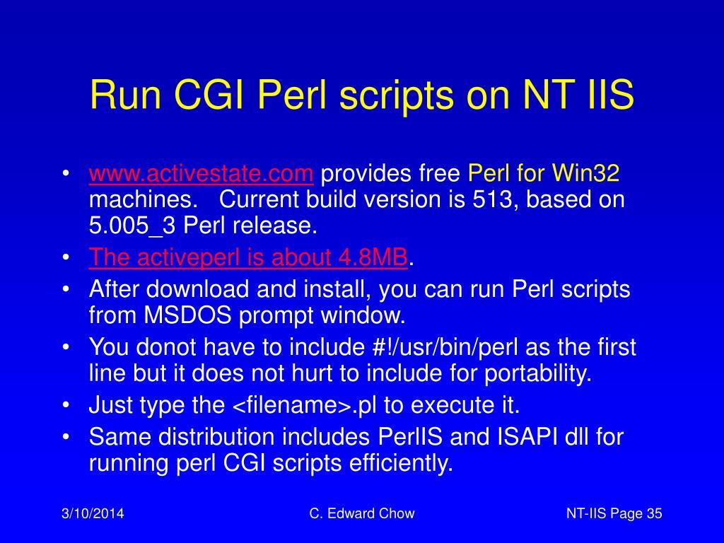 Run CGI Perl scripts on NT IIS