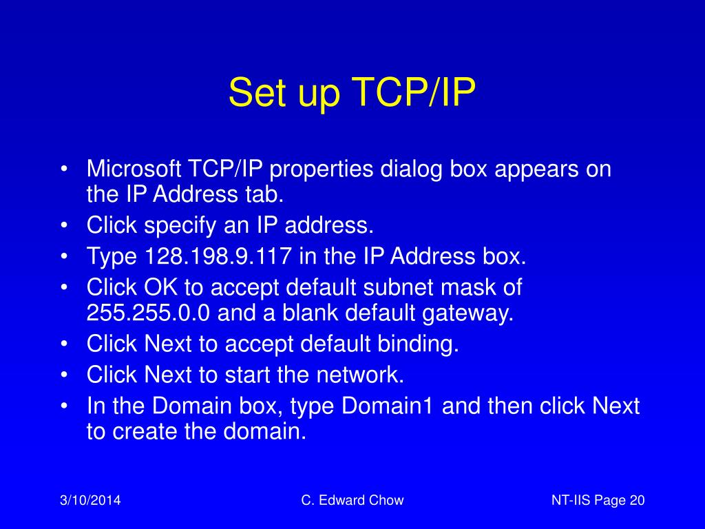 Set up TCP/IP