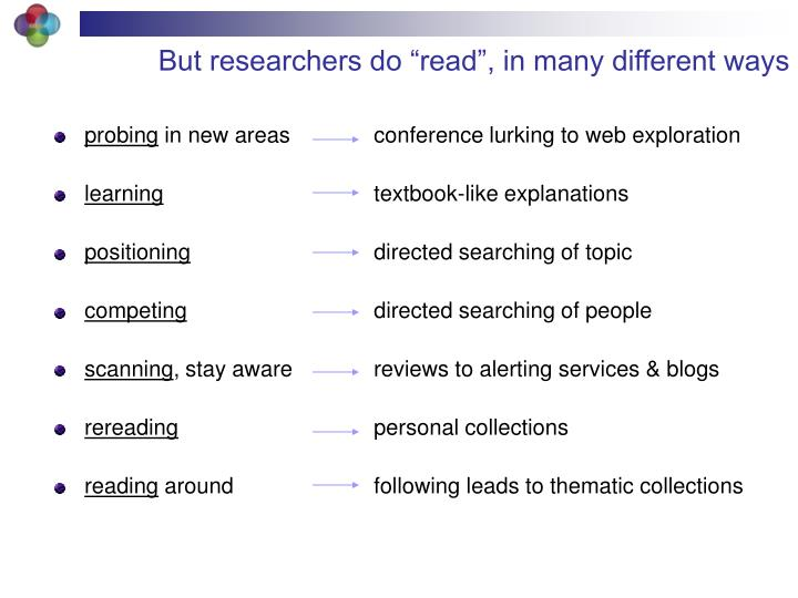 "But researchers do ""read"", in many different ways"
