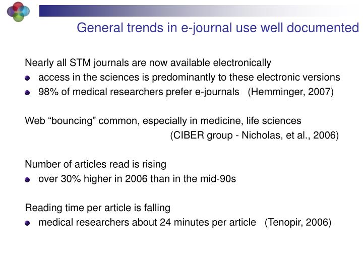 General trends in e-journal use well documented