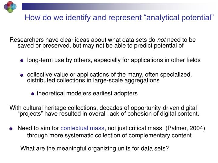 "How do we identify and represent ""analytical potential"""