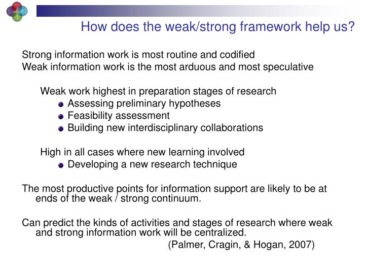 How does the weak/strong framework help us?