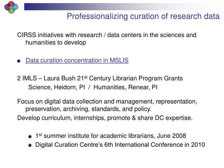 Professionalizing curation of research data