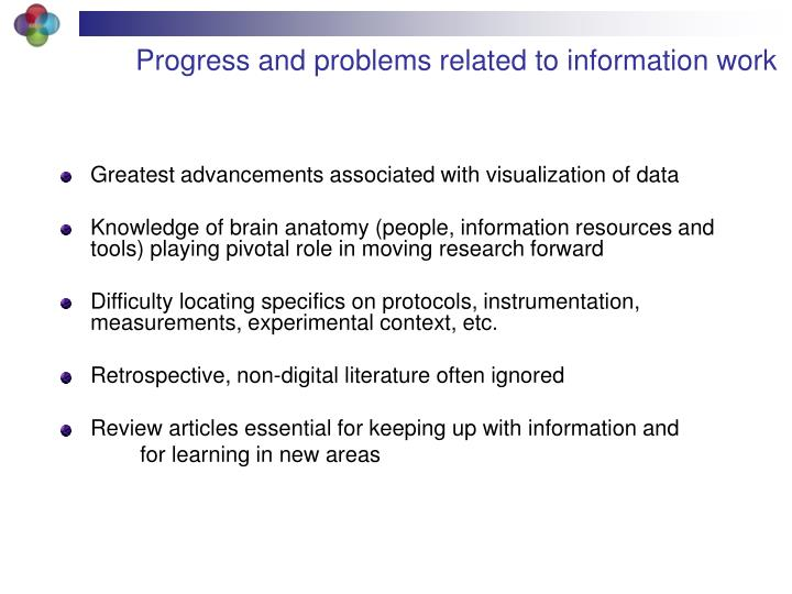 Progress and problems related to information work