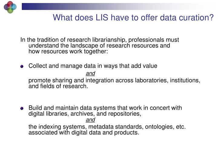 What does LIS have to offer data curation?