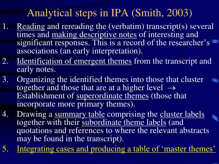 ipa qualitative research The interpretative phenomenological analysis (ipa): a guide to a good qualitative research approach abayomi alase school of education, northeastern university, boston, massachusetts, usa ipa, qualitative research method approach 1 introduction.