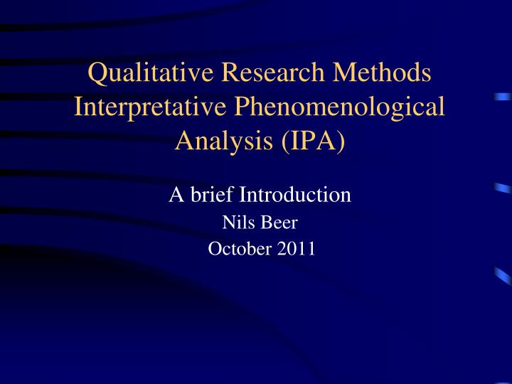 ipa qualitative research essay