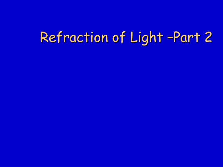 Refraction of light part 2
