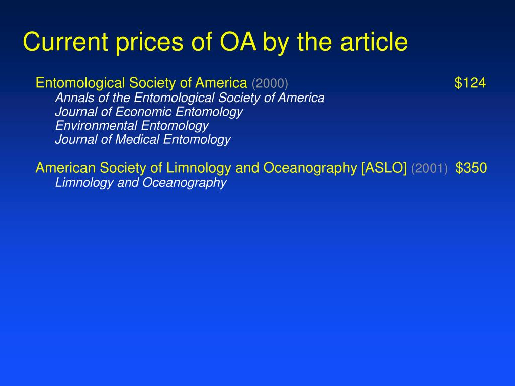 Current prices of OA by the article