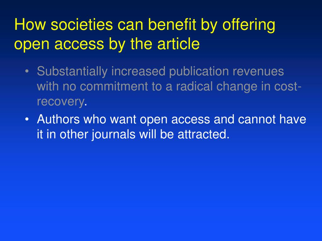 How societies can benefit by offering
