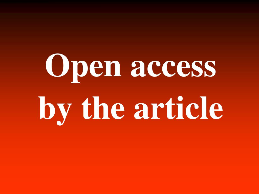 Open access by the article