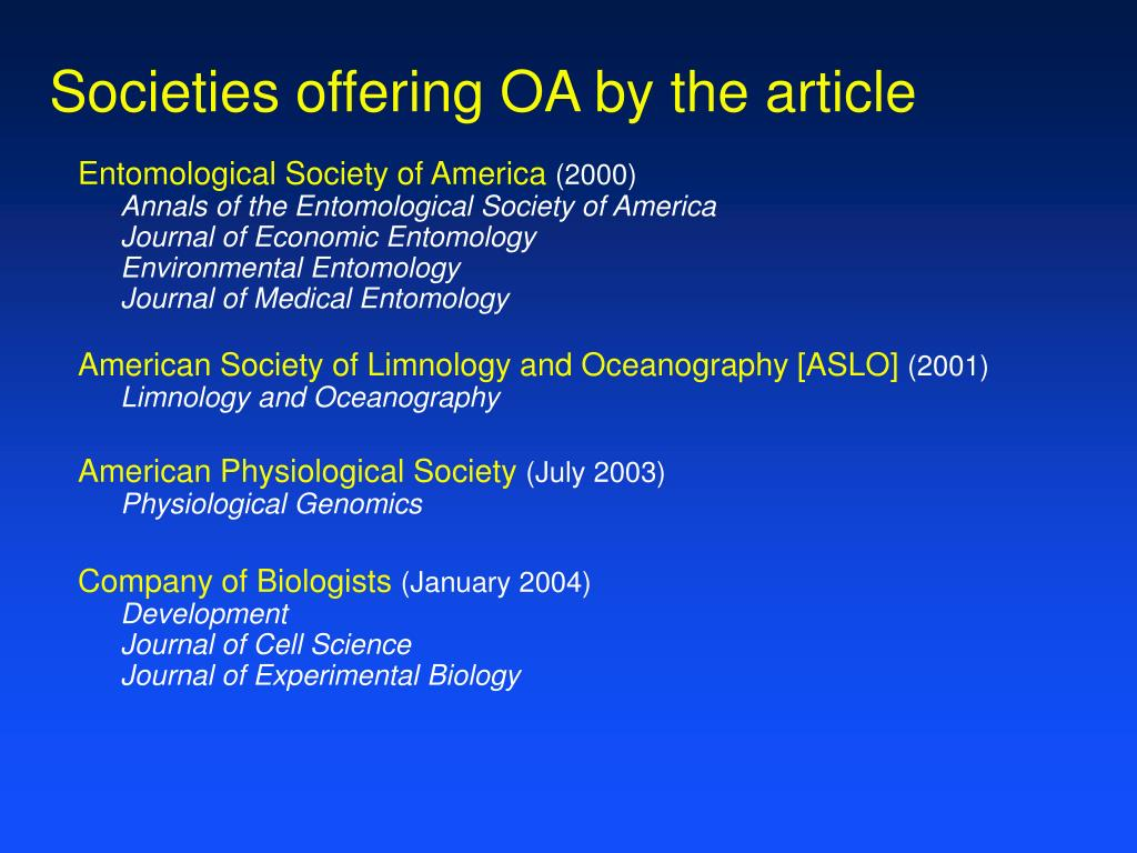 Societies offering OA by the article