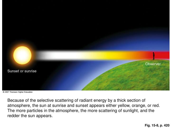 Because of the selective scattering of radiant energy by a thick section of atmosphere, the sun at sunrise and sunset appears either yellow, orange, or red. The more particles in the atmosphere, the more scattering of sunlight, and the redder the sun appears.