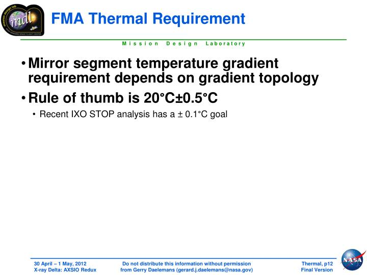 FMA Thermal Requirement