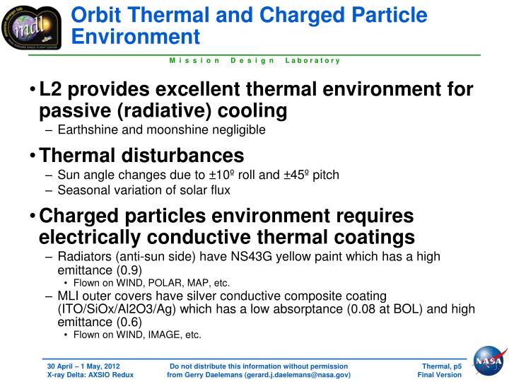 Orbit Thermal and Charged Particle Environment
