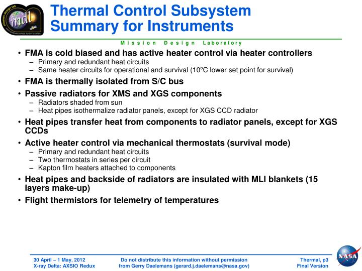 Thermal control subsystem summary for instruments