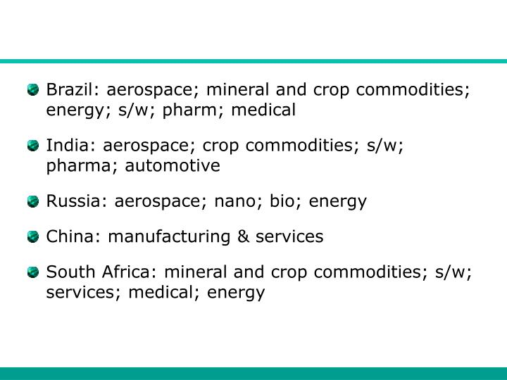 Brazil: aerospace; mineral and crop commodities; energy; s/w; pharm; medical