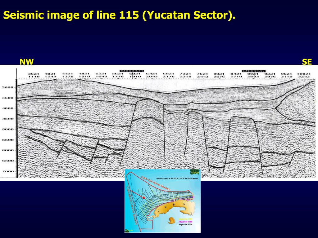 Seismic image of line 115 (Yucatan Sector).