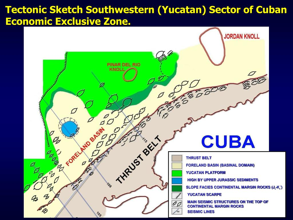 Tectonic Sketch Southwestern (Yucatan) Sector of Cuban Economic Exclusive Zone.