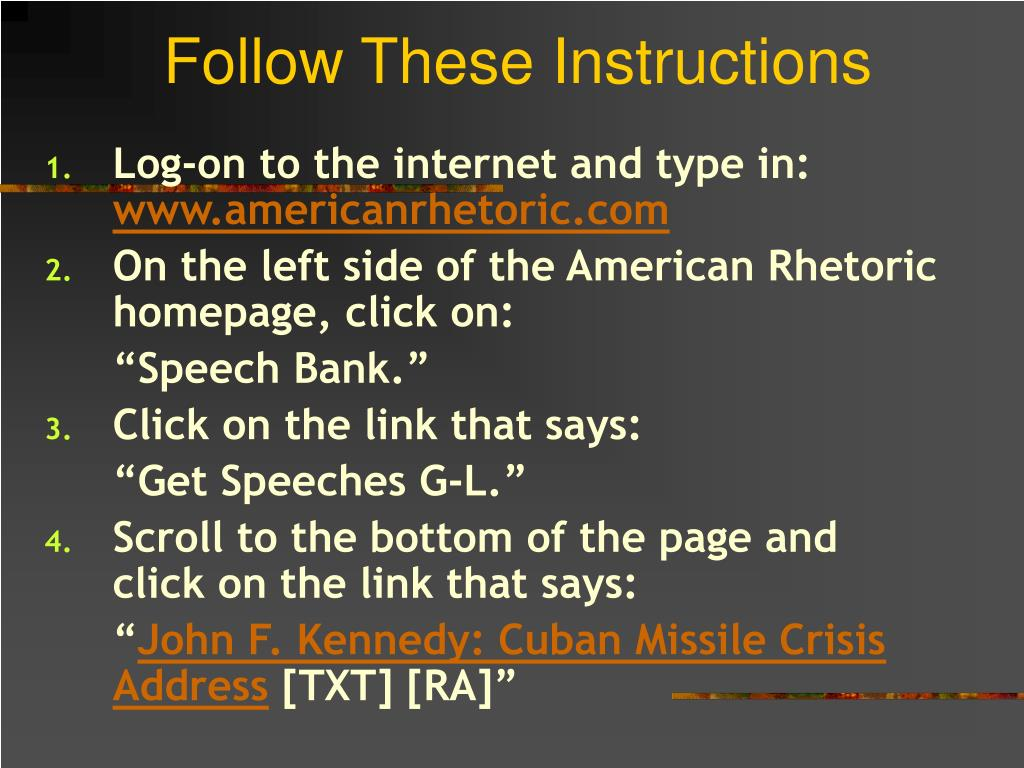 Follow These Instructions