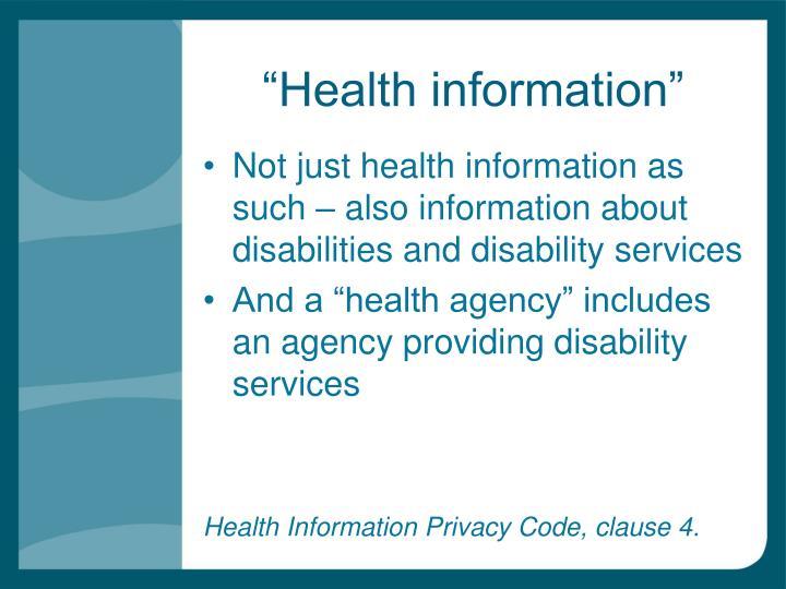 """Health information"""