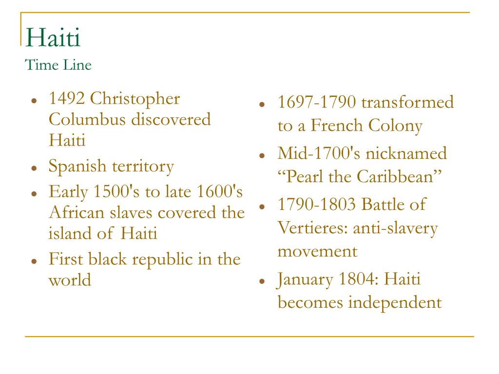 1492 Christopher Columbus discovered Haiti