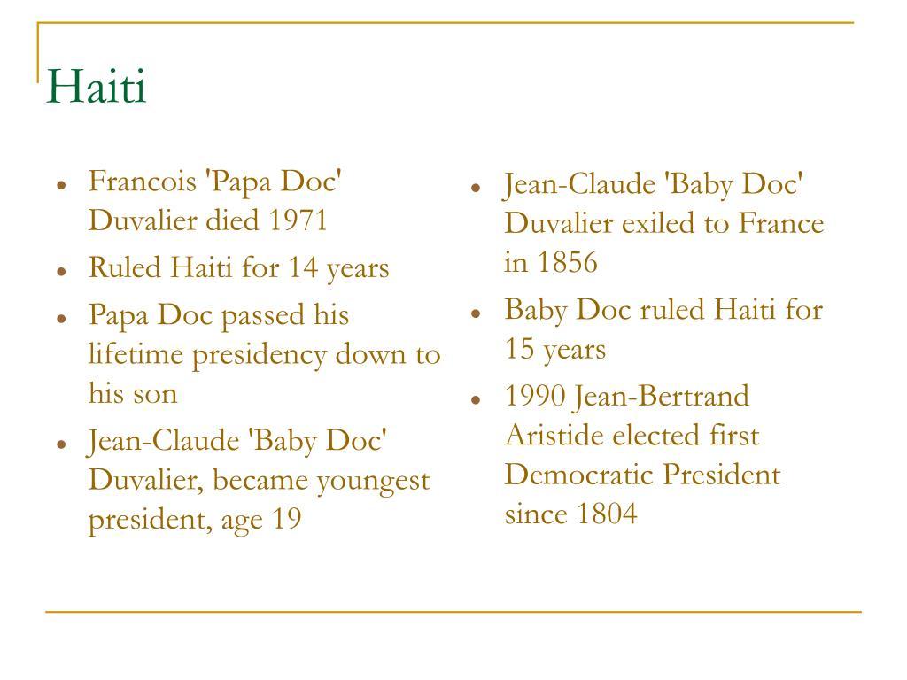 Francois 'Papa Doc' Duvalier died 1971