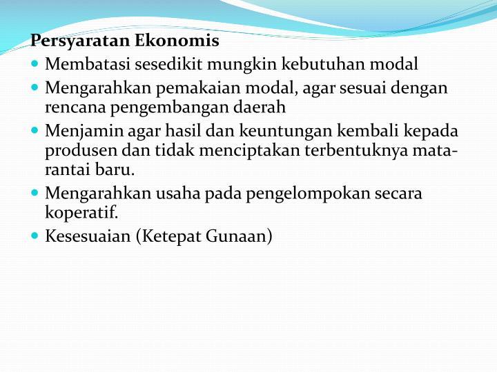Persyaratan Ekonomis