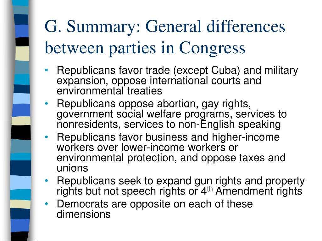 G. Summary: General differences between parties in Congress