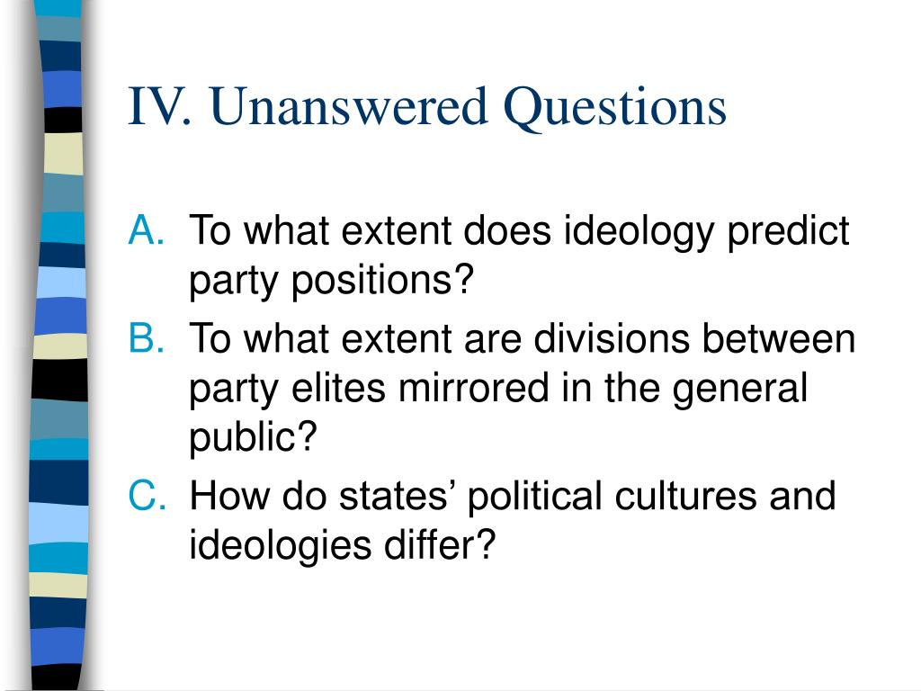 IV. Unanswered Questions