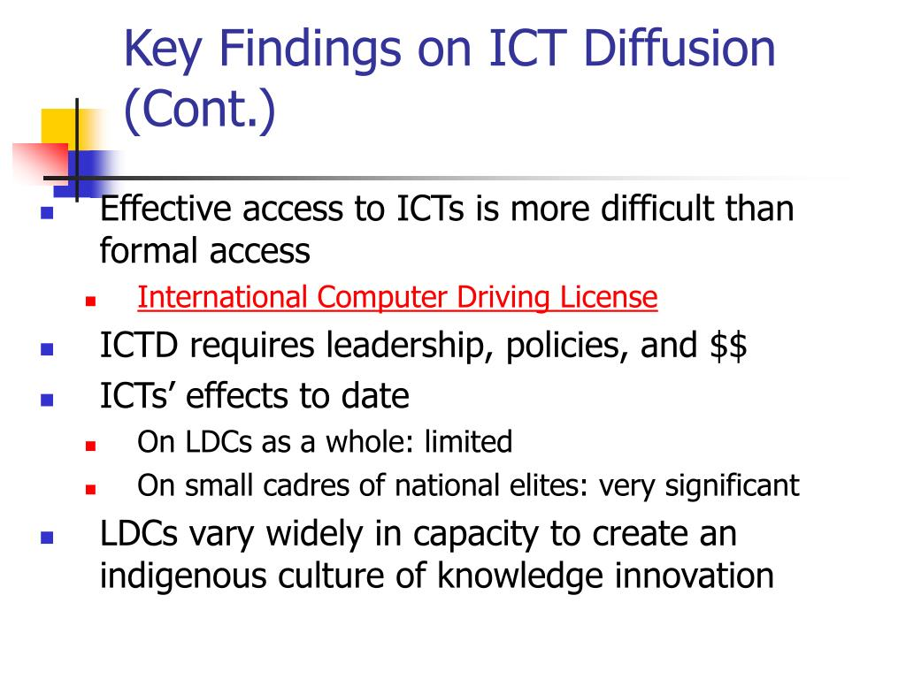 Key Findings on ICT Diffusion