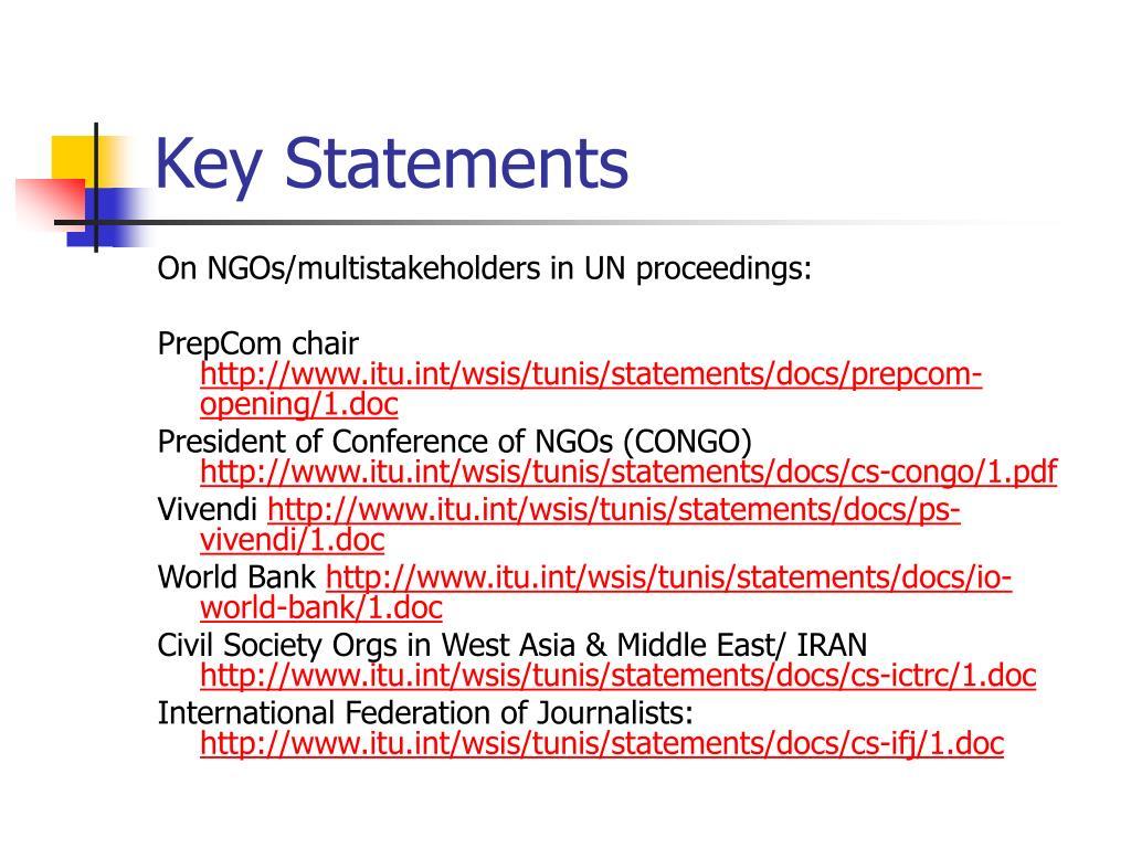 Key Statements