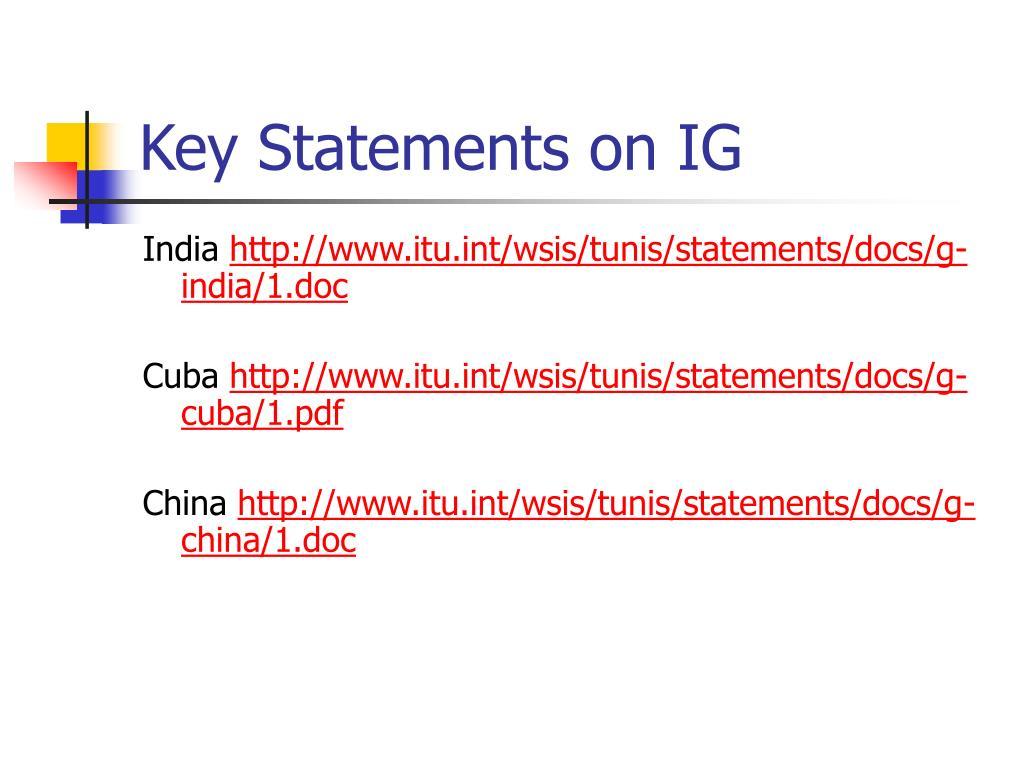 Key Statements on IG
