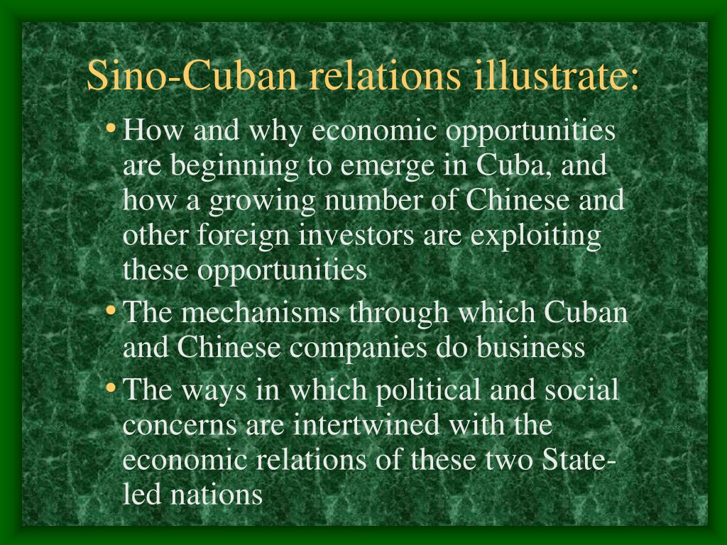 Sino-Cuban relations illustrate: