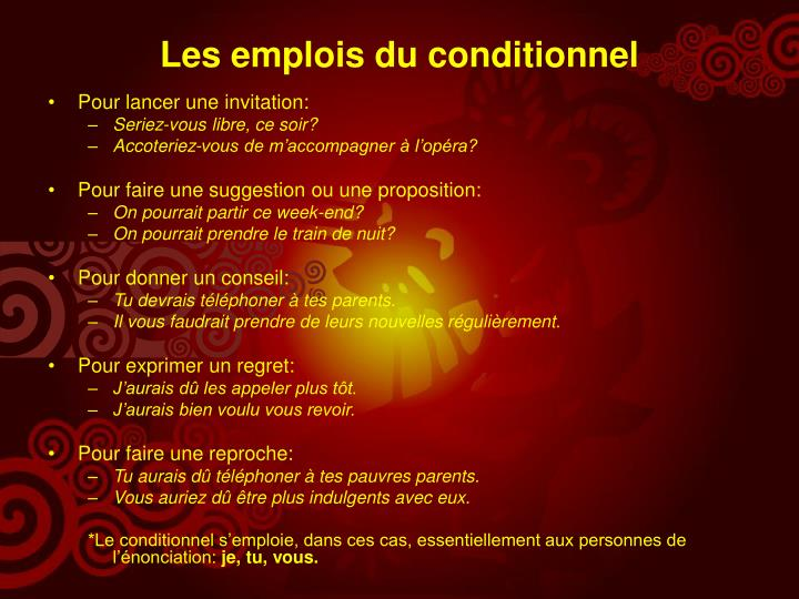 Les emplois du conditionnel