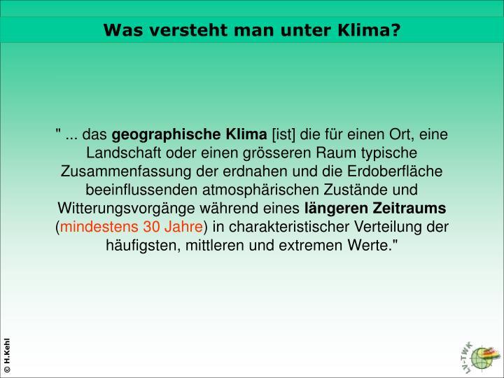 Was versteht man unter Klima?