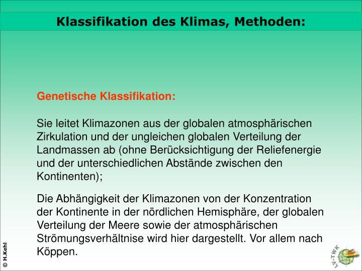 Klassifikation des Klimas, Methoden: