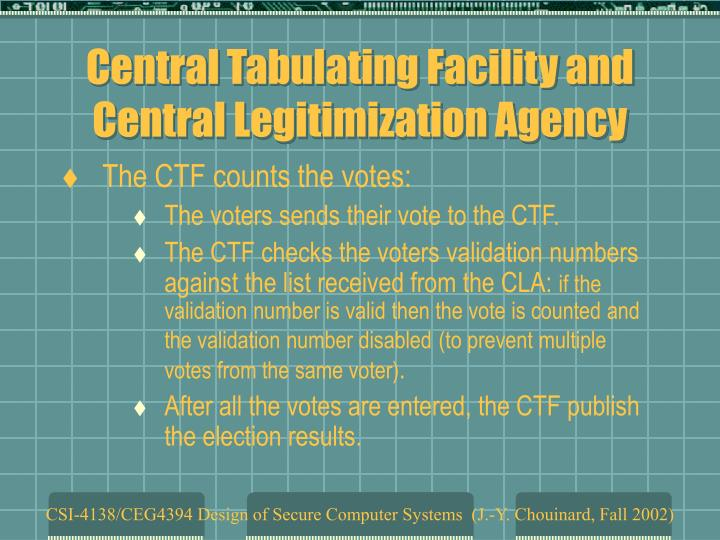 Central Tabulating Facility and Central Legitimization Agency