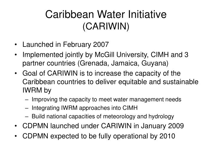 Caribbean water initiative cariwin