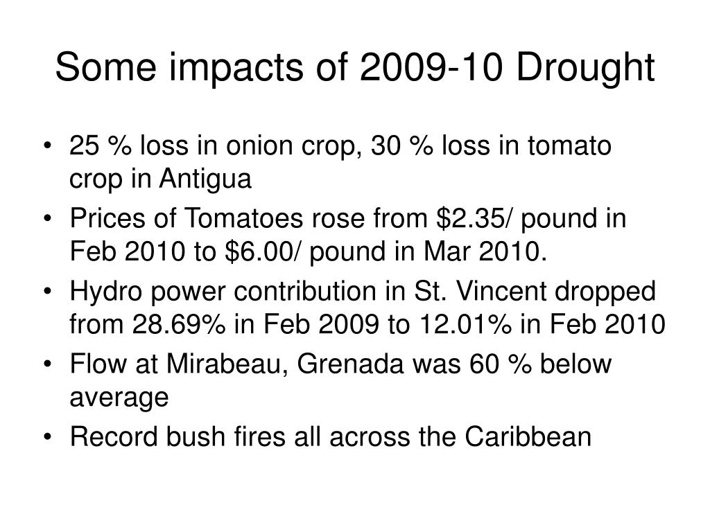 Some impacts of 2009-10 Drought