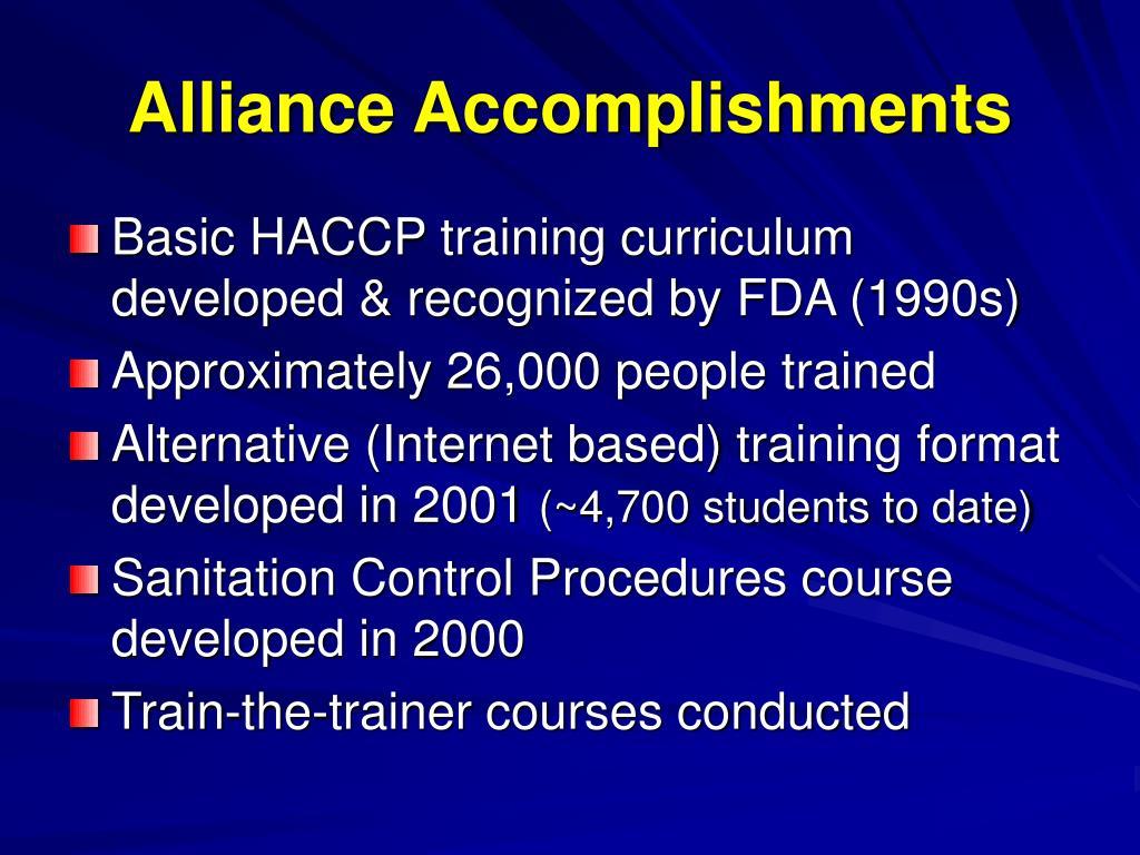 Alliance Accomplishments
