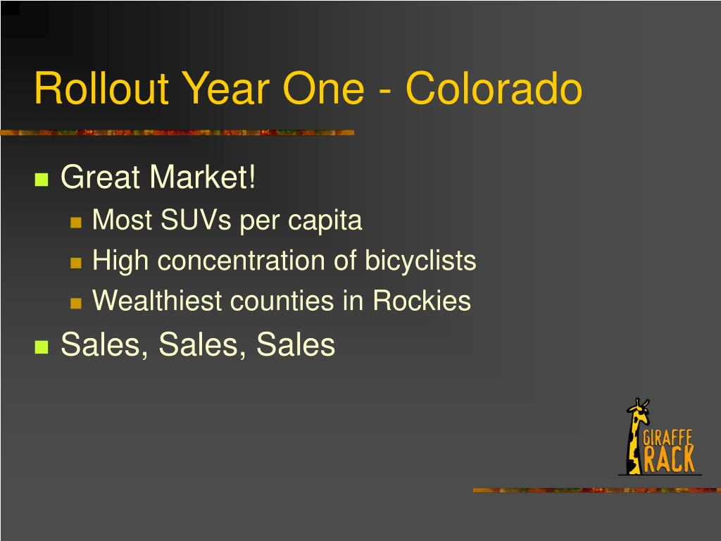 Rollout Year One - Colorado