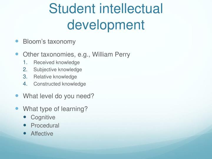 Student intellectual development