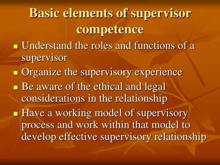 Basic elements of supervisor competence